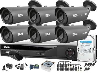 Monitoring 8mpx po skrętce sześć kamer bcs-tq7803ir3-g rejestrator bcs-xvr08014ke-ii podgląd zdalny