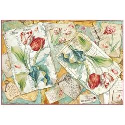 Papier ryżowy Stamperia 48x33 cm tulipany