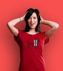 In coffee we trust t-shirt damski czerwony xxl