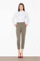Oliwkowe spodnie cygaretki z podwyższonym stanem