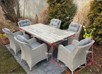 Zestaw mebli ogrodowych stół + 6 foteli kala ii jasnoszary technorattan