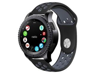 Sportowy pasek soft band samsung gear s3  watch 46mm +szkło - szary || czarny