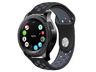 Sportowy pasek soft band samsung gear s3  watch 46mm +szkło - szary    czarny