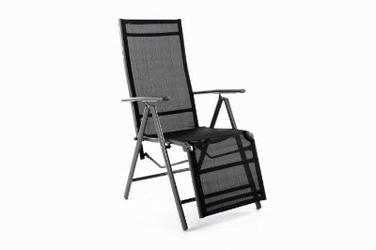 Leżak ogrodowy aluminiowy regulowany krzesło ogrodowe rozkładane czarne