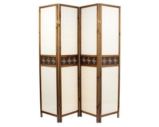 Parawan drewniany, bambusowy 4-skrzydłowy, dekor