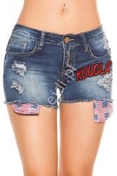 Jeansowe spodenki z łatkami  k600-401