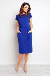 Niebieska sukienka midi z kieszeniami