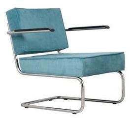 Zuiver :: krzesło tapicerowane lounge ridge rib arm niebieskie
