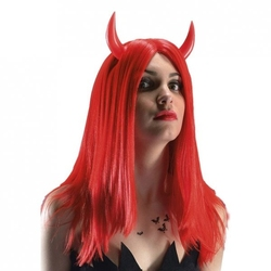 Czerwona peruka z rogami diavolessa długie włosy