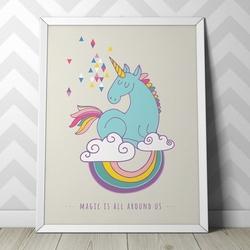Unicorn design - plakat dla dzieci , wymiary - 18cm x 24cm, kolor ramki - biały