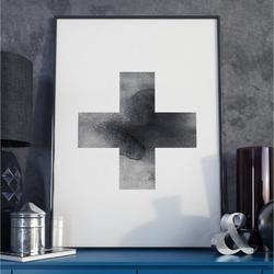 Plakat w ramie - simple cross , wymiary - 30cm x 40cm, ramka - biała