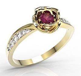 Pierścionek z żółtego złota z rubinem i diamentami lp-4221z-r - wysyłka w następny dzień roboczy - sprawdź dostępność