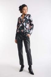 Kwiatowa elegancka bluzka kopertowa z kołnierzykiem