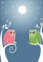 Plakat dla dzieci sowy p038
