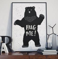 Hug me - plakat designerski , wymiary - 30cm x 40cm, ramka - biała