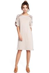 Beżowa Sukienka z Falbankami na Ramionach