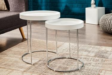 Zestaw stolików two-way biały