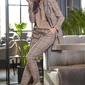 Spodnie w kratę ze zwężanymi nogawkami - brązowe