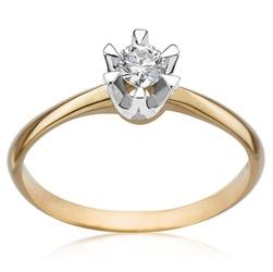 Staviori pierścionek zaręczynowy w oprawie chaton, 1 diament, szlif brylantowy, masa 0,14 ct., barwa j, czystość i2. żółte, białe złoto 0,585.