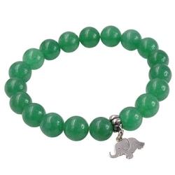Lea bransoletka na gumce zielona zawieszka słoń