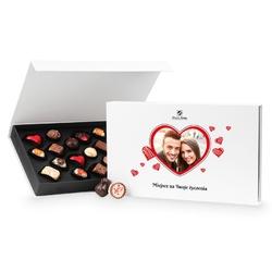 Czekoladki walentynkowe chocolate box white z twoim zdjęciem i życzeniami
