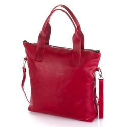 Skórzana torba shopper bag baleine r109 czerwona
