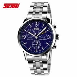 Zegarek męski SKMEI 9070 bransoleta srebrna blue - blue steel