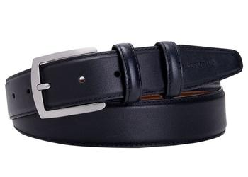 Elegancki czarny pasek skórzany męski 3,5cm 85