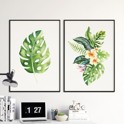 Zestaw dwóch plakatów - tropical duet , wymiary - 30cm x 40cm 2 sztuki, kolor ramki - czarny