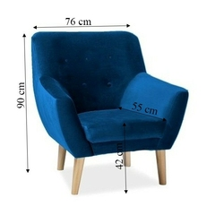 Fotel do salonu tillo skandynawski granatowy welur