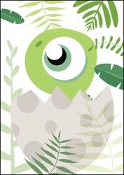 Akuku dino zielony - plakat wymiar do wyboru: 29,7x42 cm
