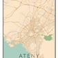 Ateny mapa kolorowa - plakat wymiar do wyboru: 50x70 cm