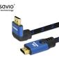 Elmak kabel hdmi-hdmi v2.1, 1,8m, 8k, kątowy, ofc, miedź, złote końcówki, ethernet3d cl-147 savio niebiesko-czarny
