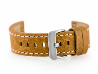 Pasek skórzany do zegarka W48 - PREMIUM - camelbiałe - 20mm