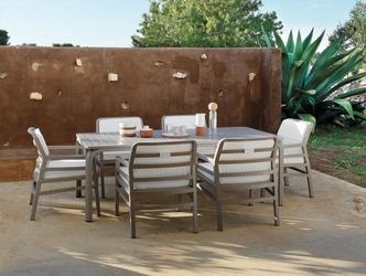 Zestaw mebli do ogrodu - rozkładany stół alloro 210-280 cm + 6 krzeseł aria fit