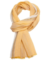 Żółty szal bawełniano-lniany profuomo w pasy