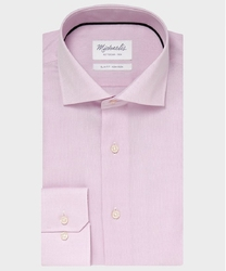 Elegancka różowa koszula ze splotem oxford michaelis z kołnierzem włoskim 37