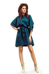 Zielona sukienka typu motyl z paskiem