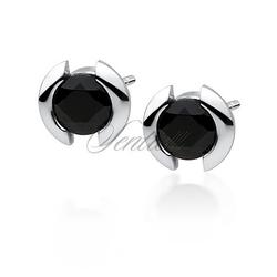 Srebrne kolczyki pr.925 czarna cyrkonia - czarna