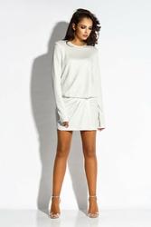Biała mini sukienka z gumką w tali