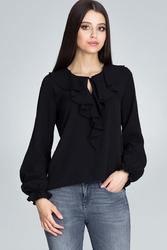 Czarna wizytowa bluzka z falbankami przy dekolcie