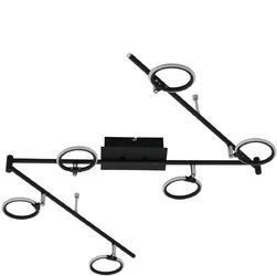 Lampa czarna sufitowa sześć okręgów LED, regulowane ramiona DeMarkt Techno 704025106