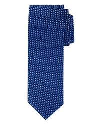 Granatowy jedwabny krawat ze wzorem profuomo
