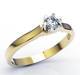 Pierścionek zaręczynowy z żółtego i białego złota z brylantem lp-8016zb - żółte i białe