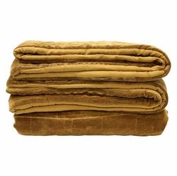 HK Living :: Miękka bawełniana narzuta na łóżko w kolorze brunatno-żółtym230x250