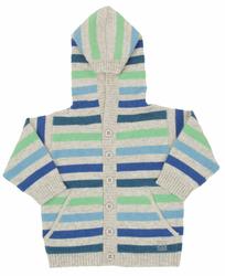 Kaszmirowy niebieski sweterek z kapturem