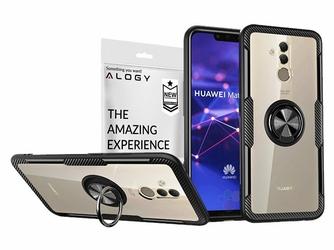 Etui Alogy Ring Holder Clear Armor do Huawei Mate 20 Lite czarne + szkło