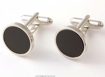 Eleganckie czarne spinki do mankietów okrągłe z onyksem