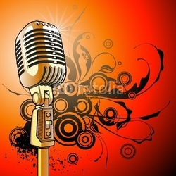 Tapeta ścienna złoty vintage mikrofon