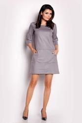 Szara sukienka trapezowa z eco-skóry